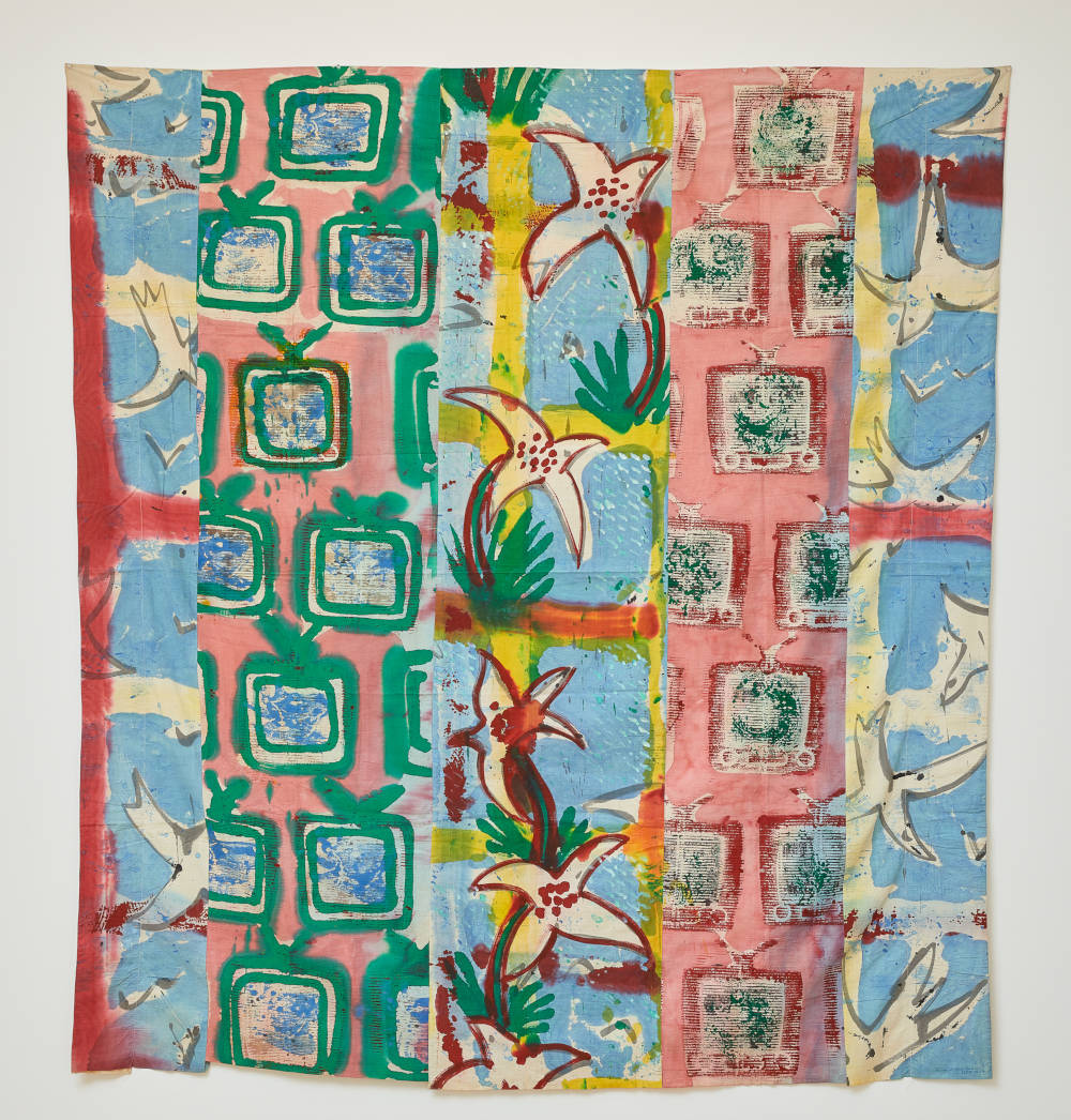 Kim MacConnel, Chicken Delight, 1978. Acrylic on cotton, 83 x 77 in., 210.8 x 195.5 cm