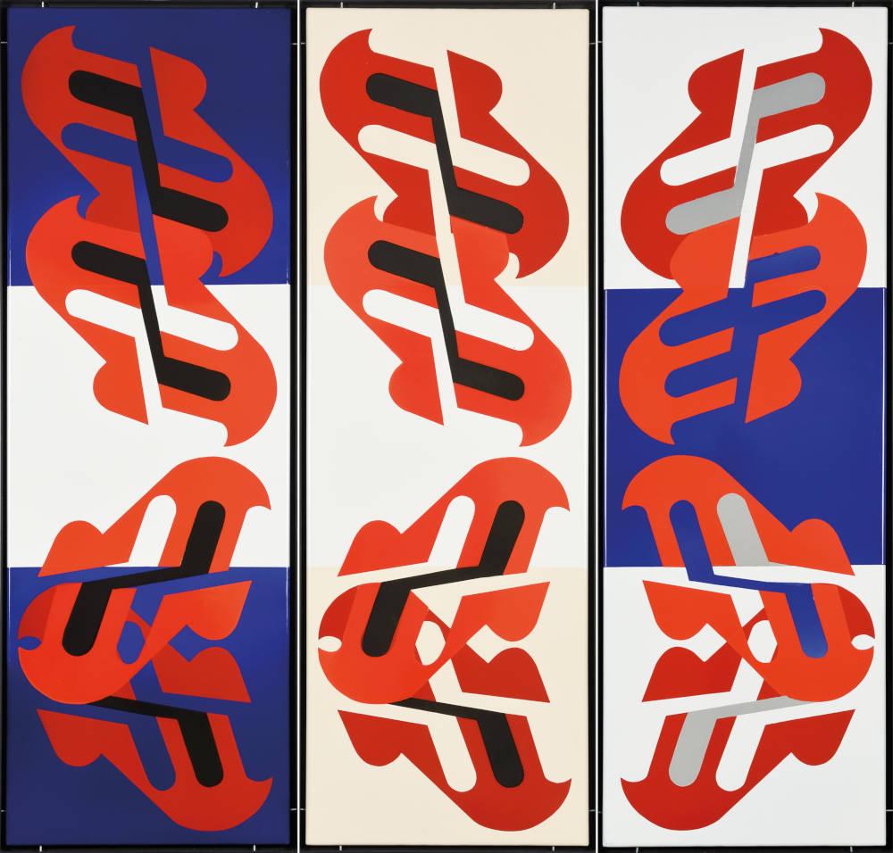 Károly Kismányoky, Untitled, c. 1970. Enamel on iron plate, 3 pieces 135 x 150 cm, 53 x 59 inches