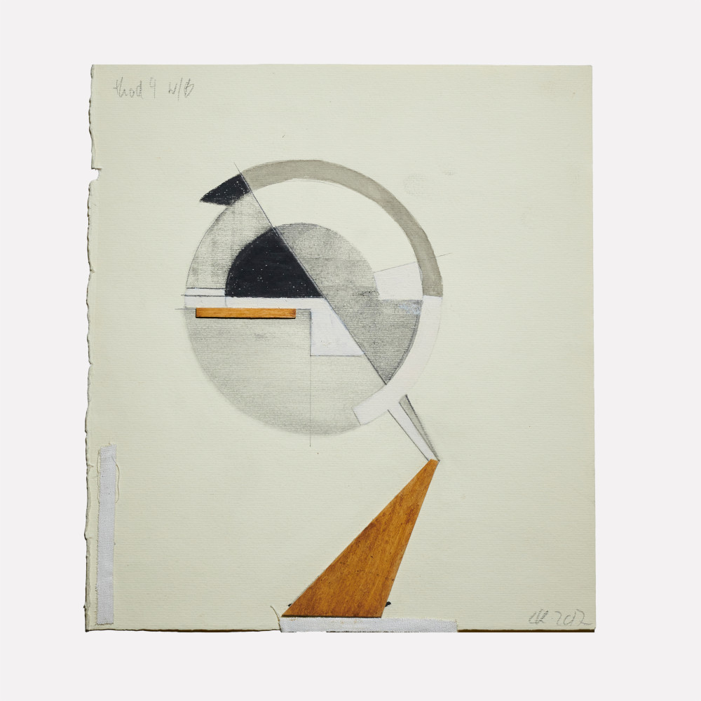 Christina Kruse, Head 4 wb, 2017. Graphite, acrylic and wood on paper 9 x 8 in.