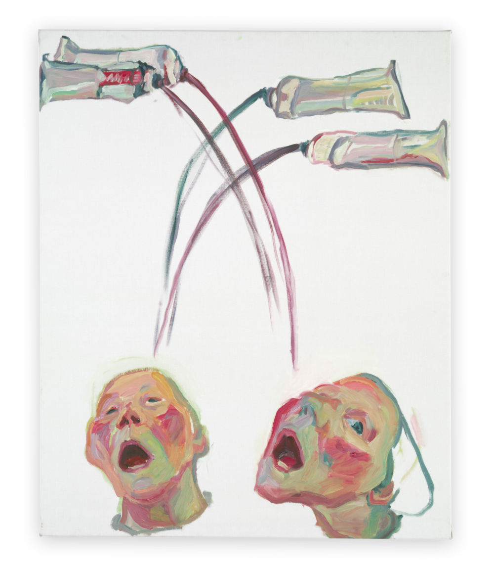Maria Lassnig, Farbenfresser (Color eater), n.d.. Oil on canvas 125 x 100 cm / 49 1/4 x 39 3/8 in © Maria Lassnig Foundation. Courtesy of the Ursula Hauser Collection, Switzerland. Photo credit: Archive Ursula Hauser Collection, Switzerland