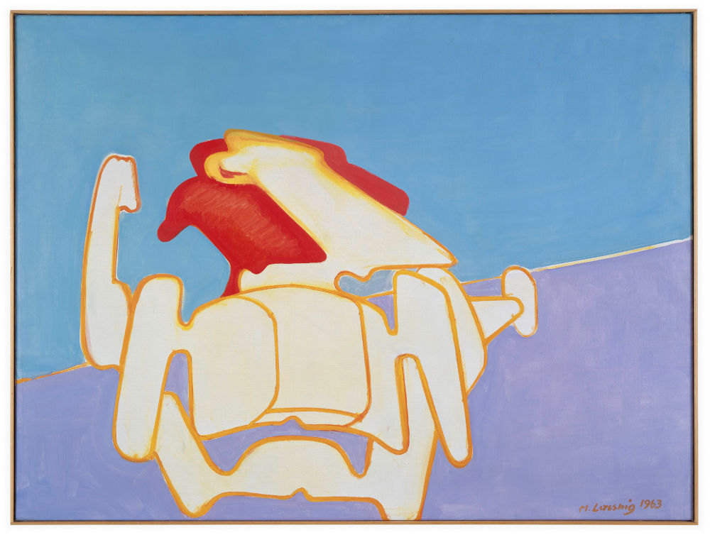 Maria Lassnig, Die Rasende Grossmutter (The Racing Grandmother), 1963. Oil on canvas 95 x 129 cm / 37 3/8 x 50 3/4 in © Maria Lassnig Foundation. Courtesy of the Ursula Hauser Collection, Switzerland