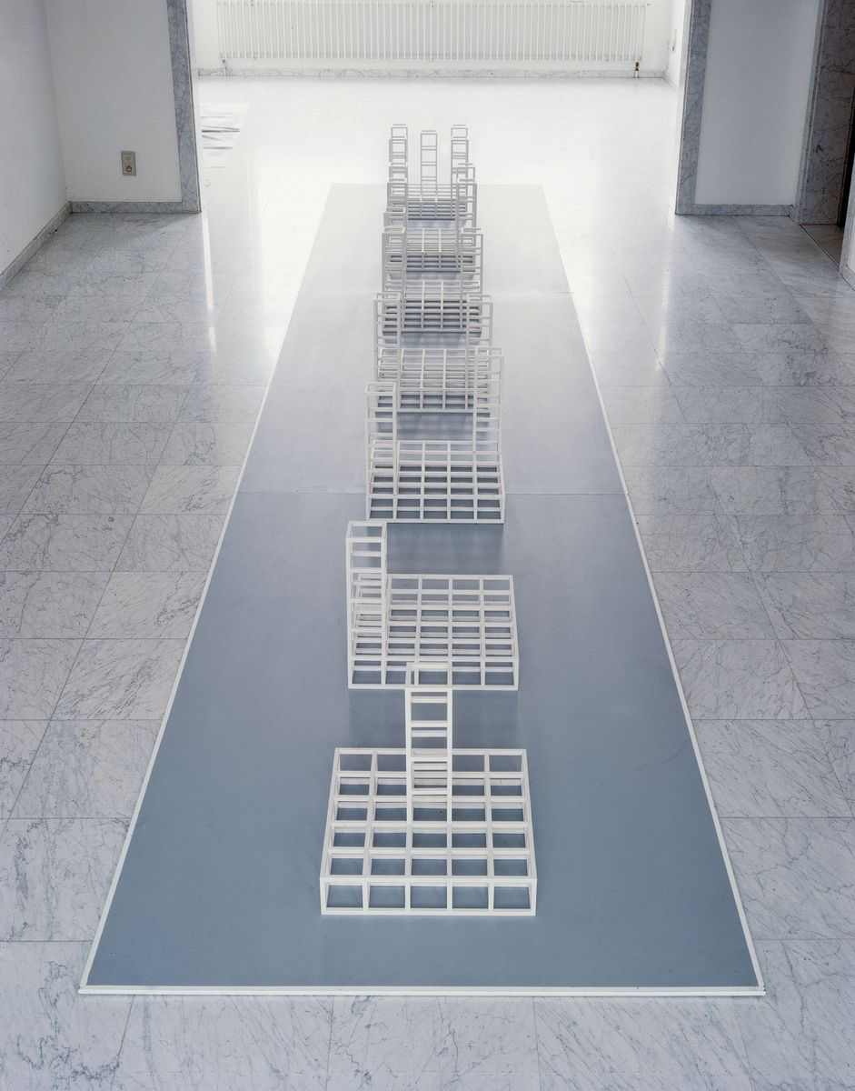 Sol LeWitt (1928 - 2007), 7 Tower Structure, 1972. Seven Plexiglas modules, wood, paint 46.4 x 46.4 x 46.4 cm each / 18 1/4 x 18 1/4 x 18 1/4 in each. 690.6 x 138.1 cm (base)/ 271 7/8 x 54 3/8 in (base) Courtesy Hauser & Wirth