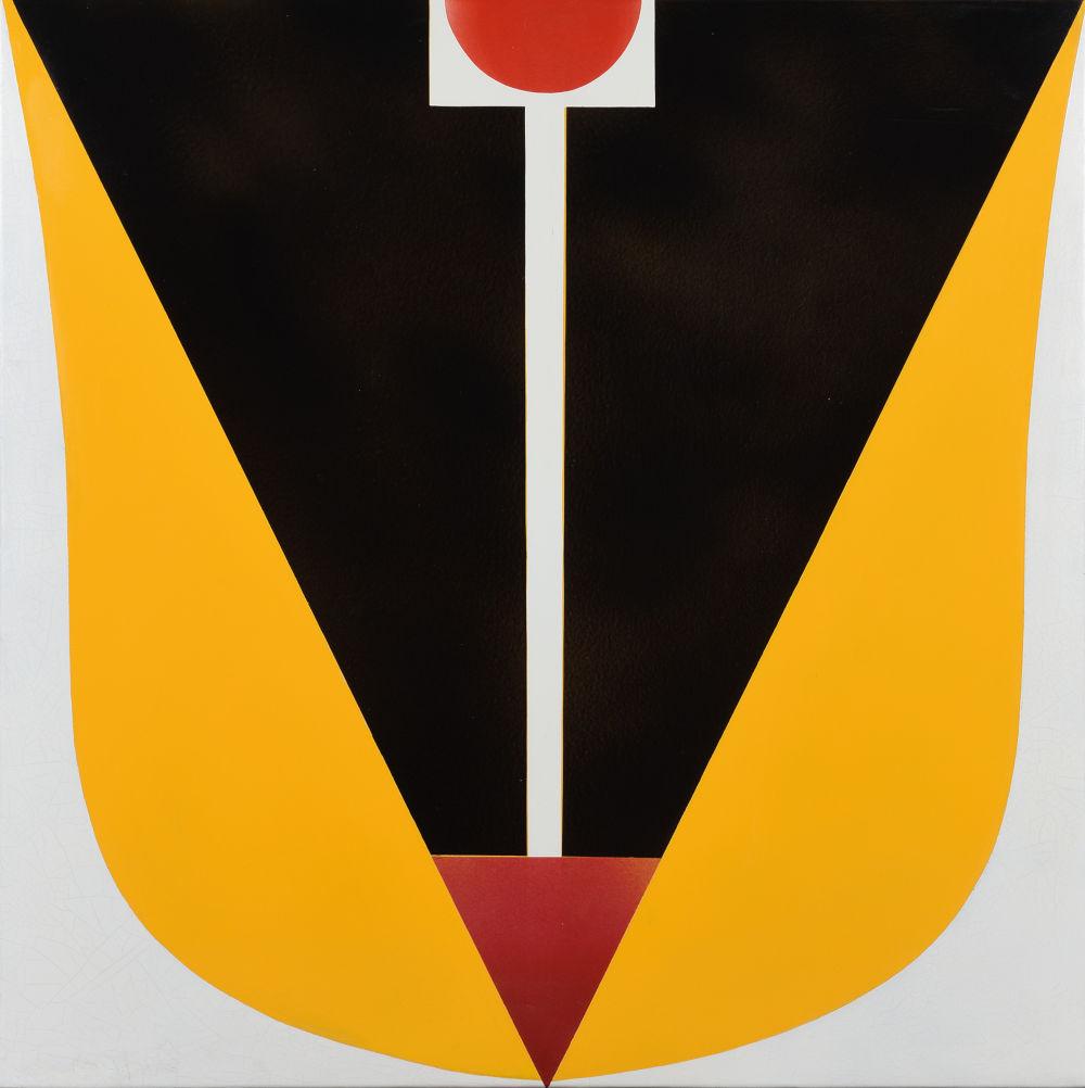 Ferenc Lantos, Large Tulip, 1969. Enamel on iron plate 97 x 97 cm, 38 x 38 inches