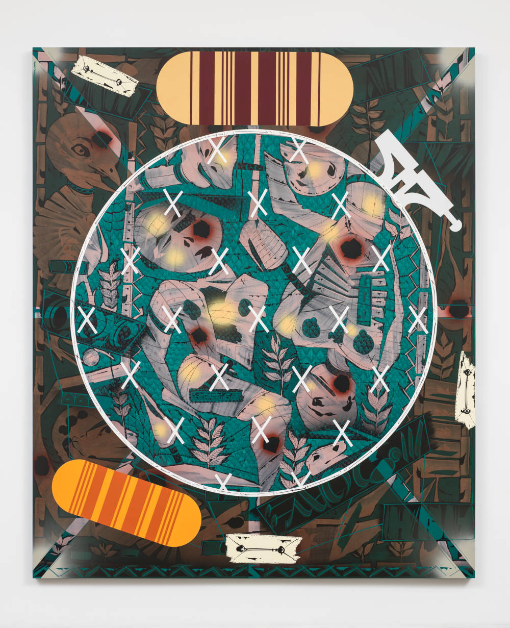 Lari Pittman, Needlepoint Sampler with Patches (#2) Depicting Daily Life of a Late Western Impaerium, 2013. Cel-vinyl and spray enamel on canvas 108 x 90 x 2 inches 274.3 x 228.6 x 5.1 cm © Lari Pittman. Courtesy Regen Projects, Los Angeles and Lehmann Maupin, New York, Hong Kong, and Seoul