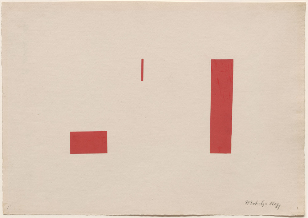 László Moholy-Nagy, Red Collage, 1921. Collage on paper 22 x 33 cm / 8 5/8 x 13 in 39.5 x 49.3 cm / 15 1/2 x 19 3/8 in © the Estate of László Moholy-Nagy / Artists Rights Society (ARS), New York / VG Bild-Kunst, Bonn. Courtesy of the Estate of László Moholy-Nagy