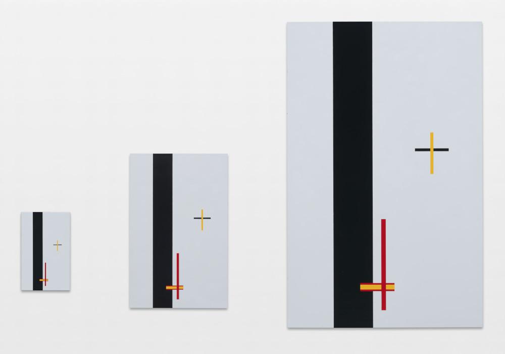 László Moholy-Nagy, Construction in Emaille Em 1, Em 2, and Em 3, 1923. Porcelain Enamel on steel. Replicas made in 2012. Three panels: 24 x 15 cm, 47.5 x 30.1 cm, 94 x 60 cm / 9 1/2 x 5 7/8 in, 18 3/4 x 11 7/8 in, 37 x 23 5/8 in © the Estate of László Moholy-Nagy / Artists Rights Society (ARS), New York / VG Bild-Kunst, Bonn. Courtesy of the Estate of László Moholy-Nagy