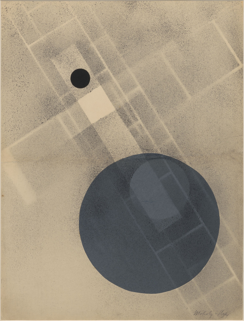 László Moholy-Nagy, Untitled, 1926/1928. Collage and sprayed paint on paper 64 x 49 cm / 25 1/4 x 19 1/4 in (framed) © the Estate of László Moholy-Nagy / Artists Rights Society (ARS), New York / VG Bild-Kunst, Bonn. Courtesy of the Estate of László Moholy-Nagy