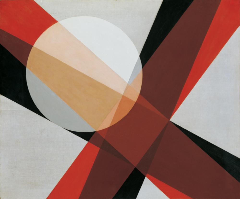 László Moholy-Nagy, A19, 1927. Oil and graphite on canvas 80 x 95.5 cm / 31 1/2 x 37 5/8 in © the Estate of László Moholy-Nagy / Artists Rights Society (ARS), New York / VG Bild-Kunst, Bonn. Courtesy of the Estate of László Moholy-Nagy