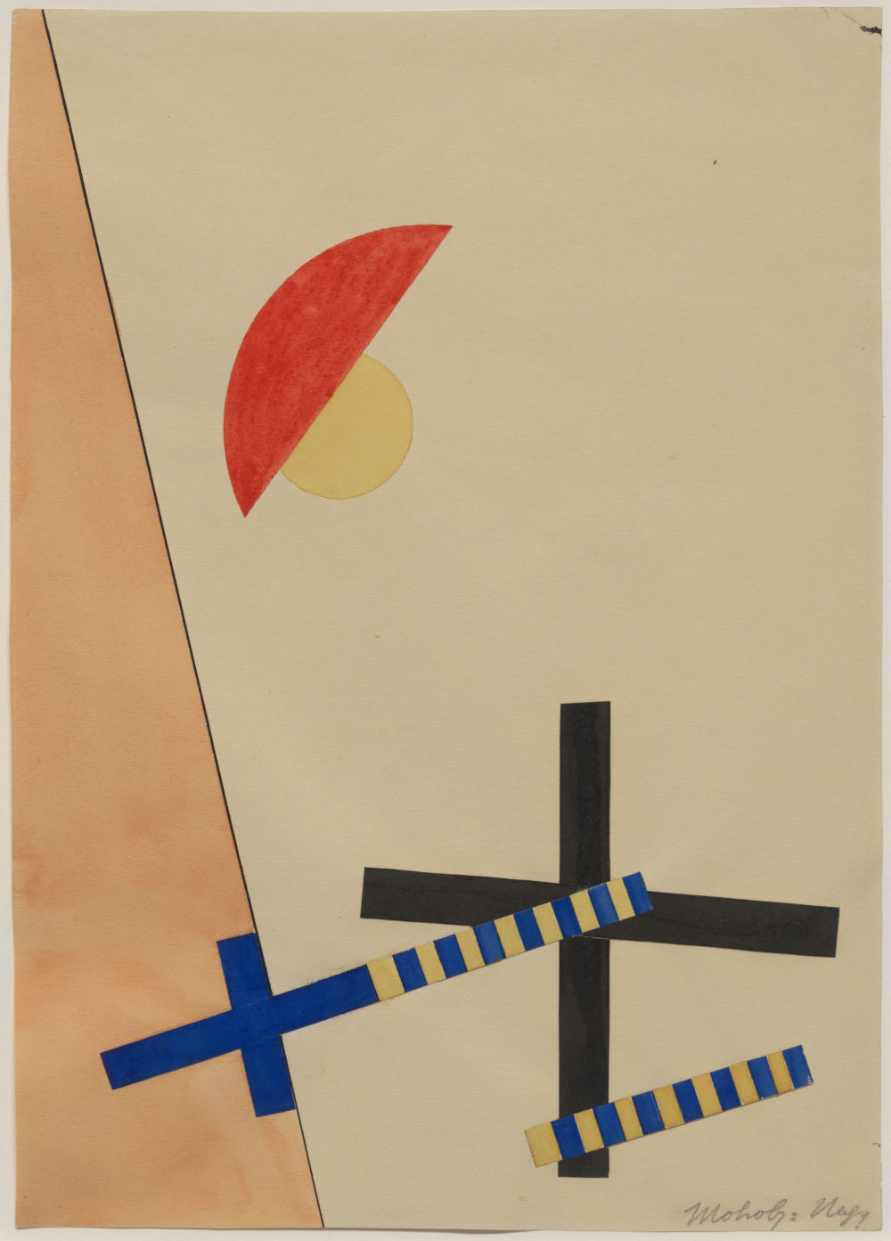 László Moholy-Nagy, Collage mit 2 Kreuzen (Collage with 2 Crosses), 1922. Mixed media 31 x 22.5 cm / 12 1/4 x 8 7/8 in © the Estate of László Moholy-Nagy / Artists Rights Society (ARS), New York / VG Bild-Kunst, Bonn. Courtesy of the Estate of László Moholy-Nagy