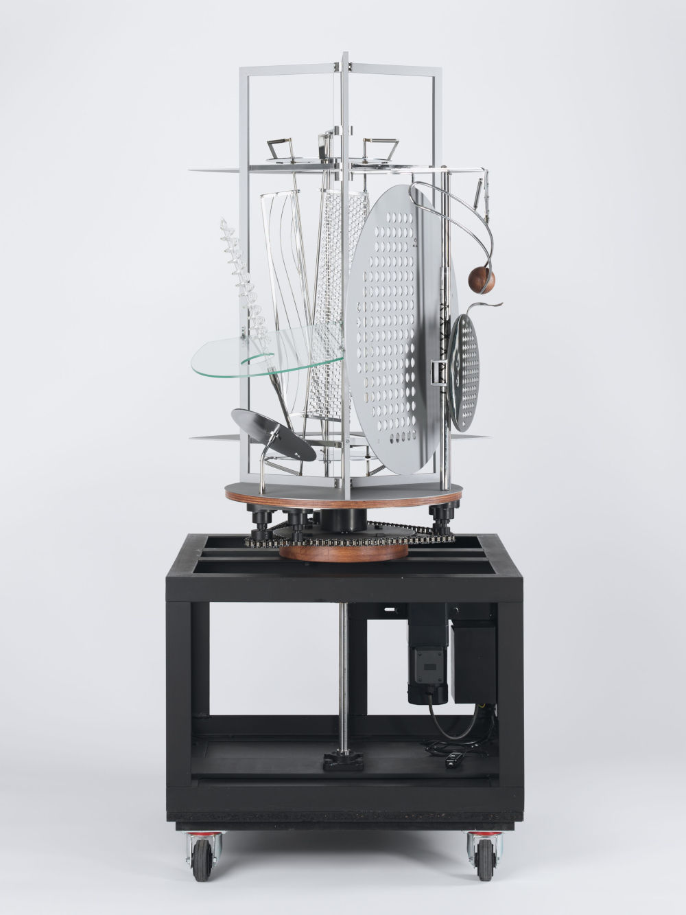 László Moholy-Nagy, Light Prop for an Electric Stage, 1930. Metal, plastics, glass, paint, and wood, with electric motor. Exhibition replica constructed in 2006 151 x 70 x 70 cm / 59 1/2 x 27 1/2 x 27 1/2 in © the Estate of László Moholy-Nagy / Artists Rights Society (ARS), New York / VG Bild-Kunst, Bonn. Courtesy of the Estate of László Moholy-Nagy