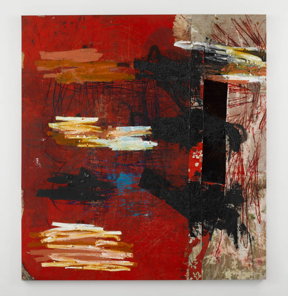 Oscar Murillo, manifestation, 2018-2019. Oil, spray paint and oil stick on canvas and linen © Oscar Murillo. Courtesy the artist and David Zwirner