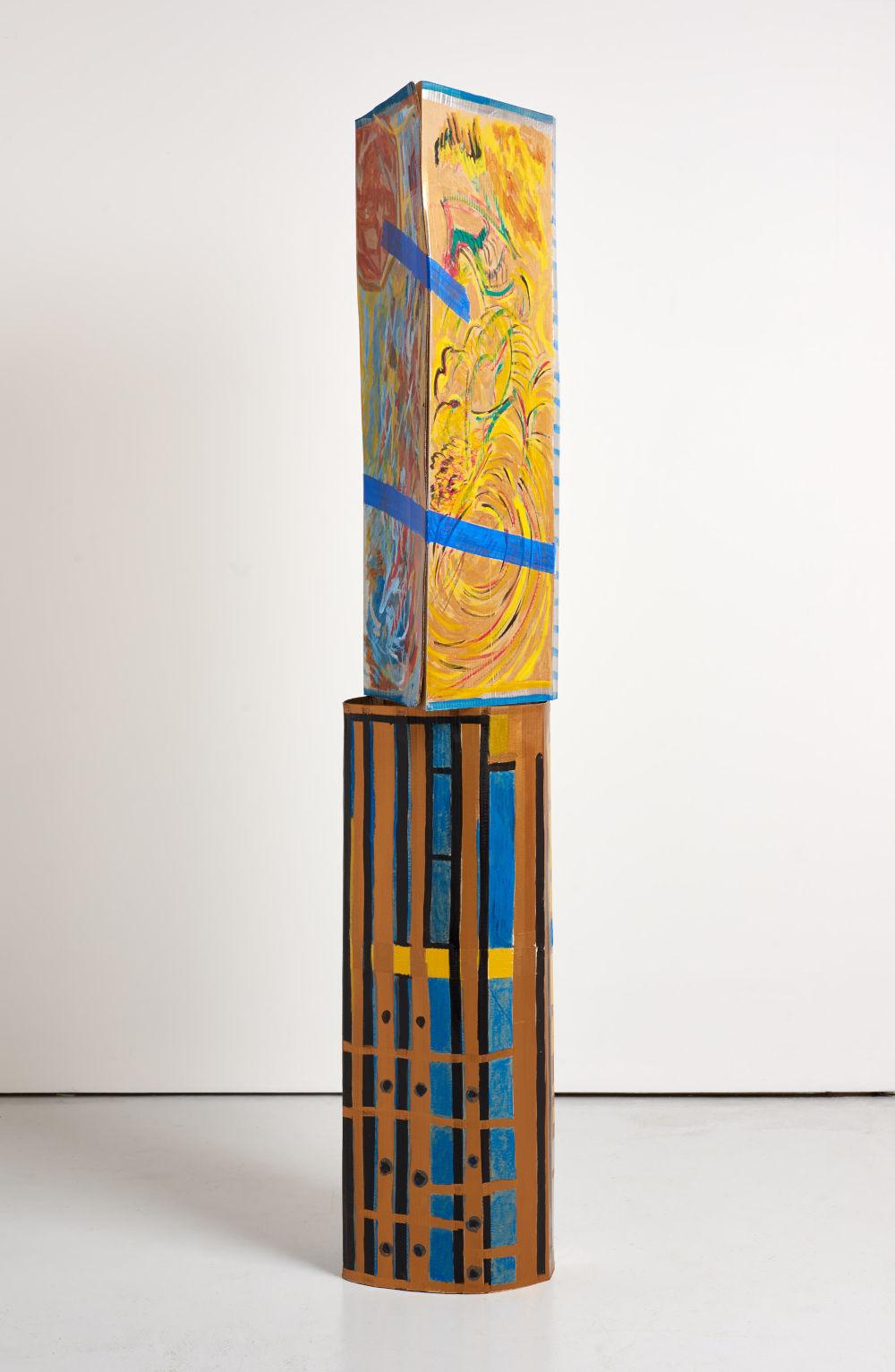 Ma Jianfeng, Untitled F13, 2019. Acrylic on cardboard, masking tape. (Top) H 100 x W 38 x D 24.5 cm, (Bottom) H 100 x W 37 x D 33 cm. Courtesy the Artist and GAO, London. Photo by Jonathan Bassett