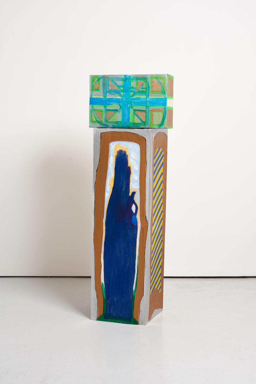 Ma Jianfeng, Untitled F14, 2019. Acrylic on cardboard, masking tape. (Top) H 26.5 x W 39.8 x D 17 cm, (Bottom) H 100 x W 30 x D 30 cm. Courtesy the Artist and GAO, London. Photo by Jonathan Bassett.