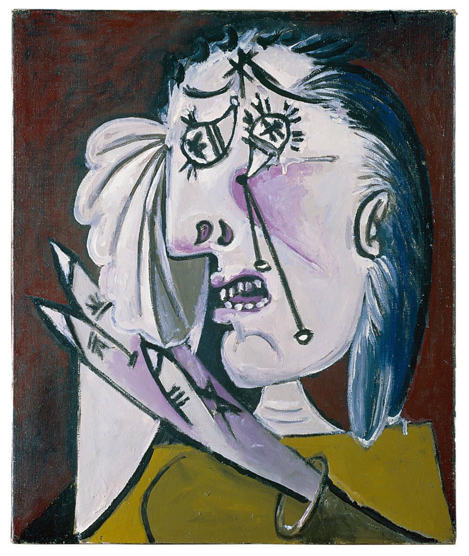 Pablo Picasso, La femme qui pleure, 1937. Oil on canvas 55 x 46 cm / 21 5/8 x 18 1/8 in © Succession Picasso / 2019, ProLitteris, Zurich. Fondation Beyeler, Riehen/Basel, Beyeler Collection