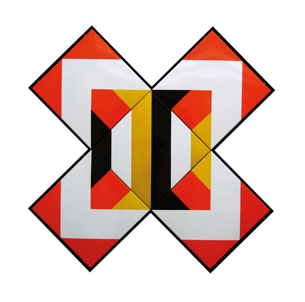 Sándor Pinczehelyi, Imagination, 1972. Enamel on metal plate 131 x 131 cm, 51 1/2 x 51 1/2 inches