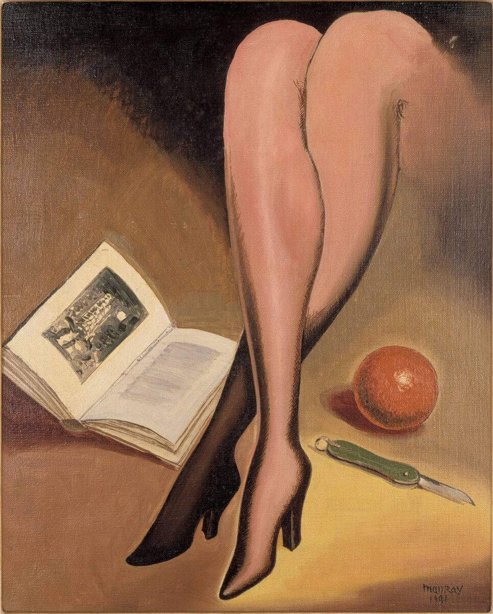 Man Ray, Apple, Book, Knife, Legs, 1941. Oil on canvas 51 x 41 cm / 20 1/8 x 16 1/8 in. Courtesy Hauser & Wirth