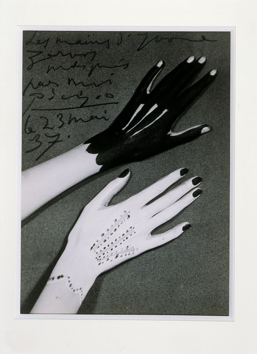 Man Ray, Hands of Yvonne Zervos painted by Pablo Picasso, 1937. Silver print 22.3 x 16.5 cm / 8 3/4 x 6 1/2 in. Courtesy Hauser & Wirth
