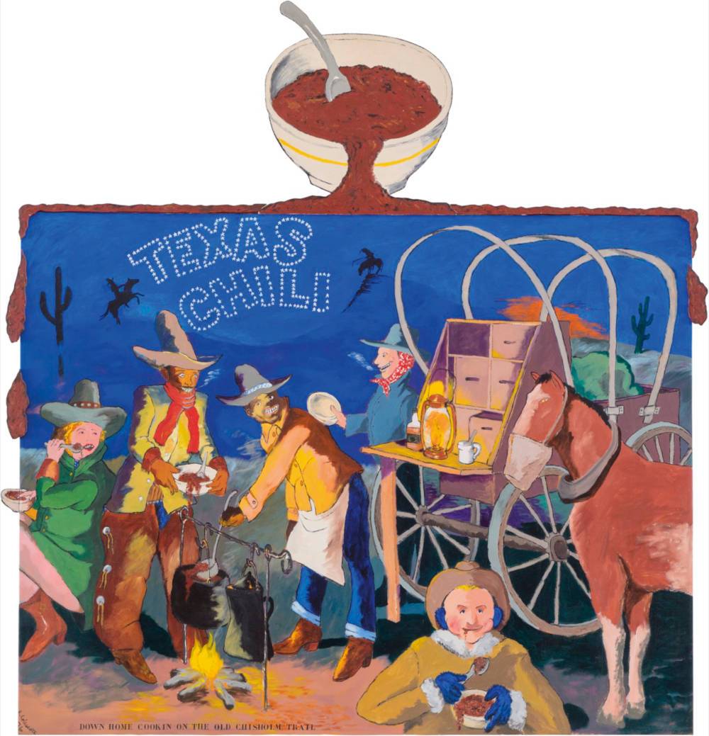 Robert Colescott, Texas Chili, 1976. Acrylic on canvas with wooden cutouts. Overall: 266.1 x 259.1 x 5.1 cm (104.76 x 102.01 x 2.01 in) Private Collection © Robert Colescott. Image © ARS, NY and DACS, London 2019