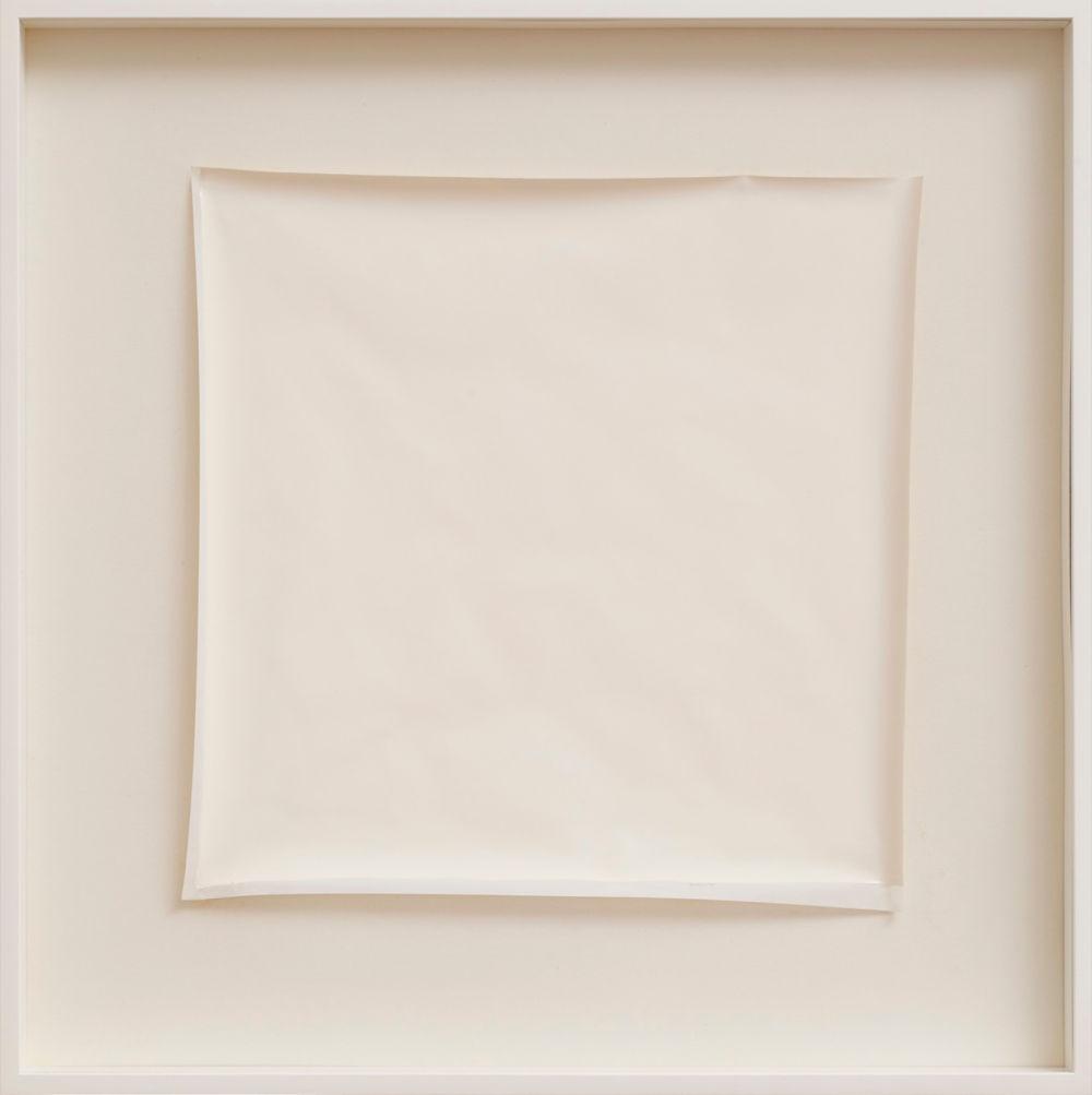 Robert Ryman, Untitled, 1974. Gloss paint on PVC 34 x 34 cm (13.39 x 13.39 in) Collection Thaddaeus Ropac © Robert Ryman / DACS, London 2019, Collection Thaddaeus Ropac. Photo: Stephen White, London