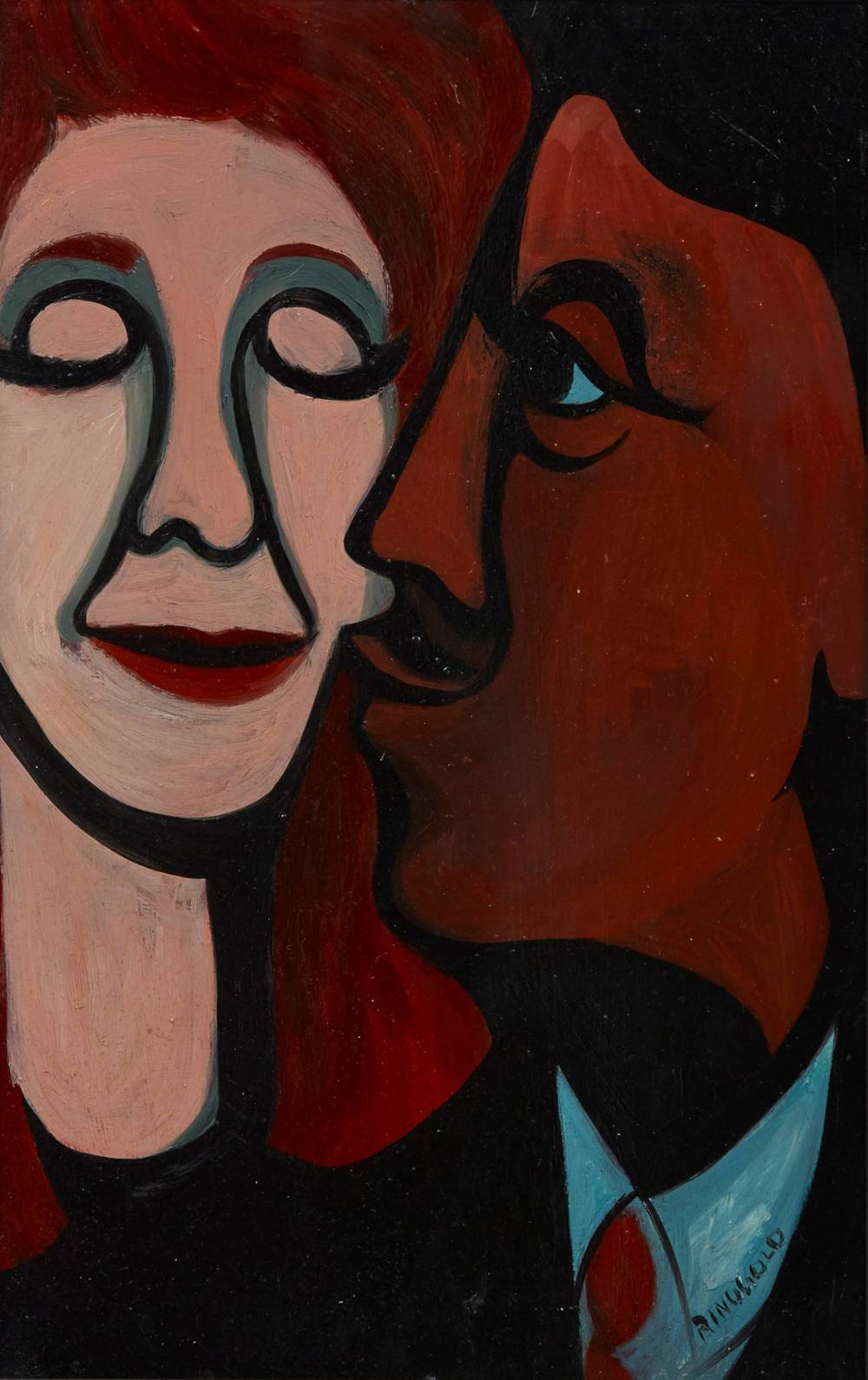 Faith Ringgold, A Man Kissing His Wife, 1964 Oil on masonite 48.3 x 30.5 cm Private collection, courtesy Pippy Houldsworth Gallery, London © 2018 Faith Ringgold / Artists Rights Society (ARS), New York