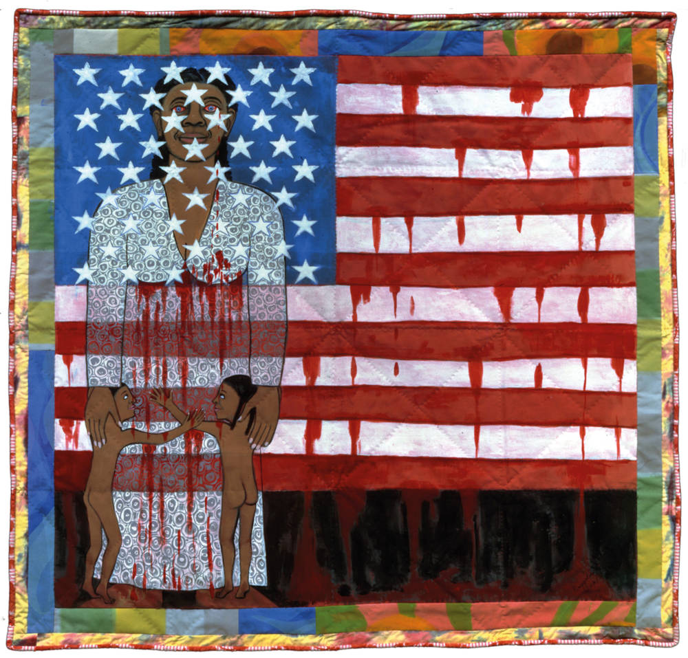 Faith Ringgold,The Flag is Bleeding #2 (American Collection #6), 1997 Acrylic on canvas, painted and pieced border 193 x 200.7 cm Private collection, courtesy Pippy Houldsworth Gallery, London © 2018 Faith Ringgold / Artists Rights Society (ARS), New York