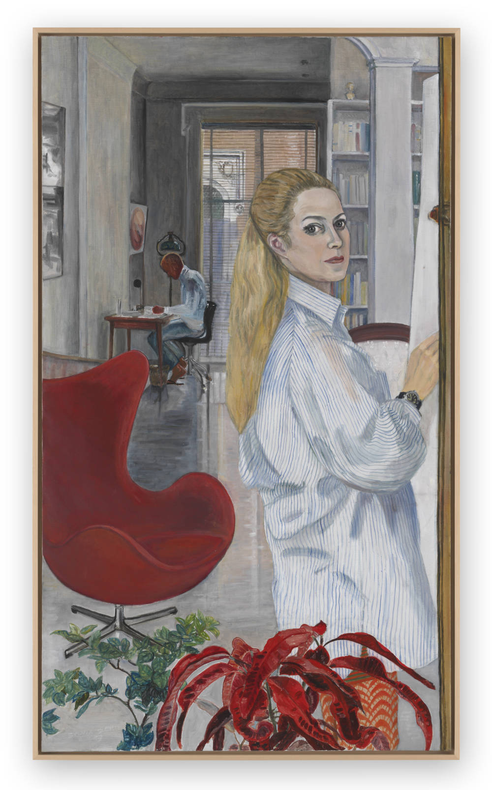 Sylvia Sleigh, Working at Home, 1969. Oil on canvas 142.2 x 81.3 cm / 56 x 32 inches. Courtesy of the Estate of Sylvia Sleigh and the Ursula Hauser Collection, Switzerland. Photo credit: Stefan Altenburger Photography Zürich