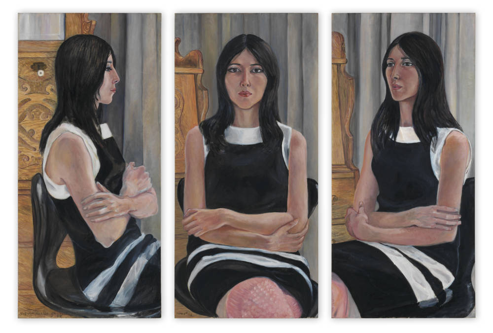 Sylvia Sleigh, Sylvia Castro Cid (Triptych), 1966. Oil on canvas. Three panels, each 45.7 x 95.6 cm / 18 x 37 5/8 in. Courtesy of the Estate of Sylvia Sleigh and the Ursula Hauser Collection, Switzerland
