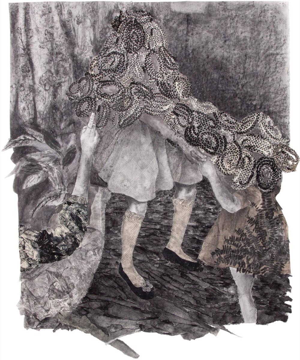 Simonette Quamina, Sing a Song my little Kiskadee, 2018. Graphite, relief print, collaged on paper 160 x 121.9 cm (63 x 48 in) © Simonette Quamina. Photo: Pablo Enriquez Courtesy of the artist