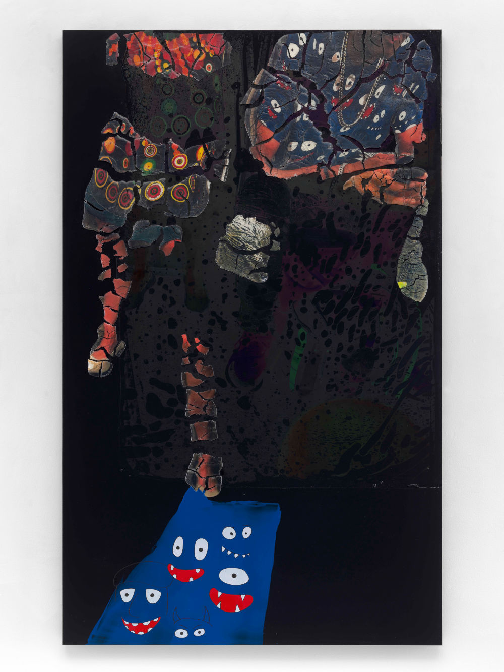 Seth Price, Subway: Entering Social Space, 2019. Acrylic polymer, acrylic paint, relay print on polyester, plastic, wood, metal, 197.5 x 122 cm. Courtesy of the artist and Galerie Chantal Crousel, Paris. Photo : Martin Argyroglo