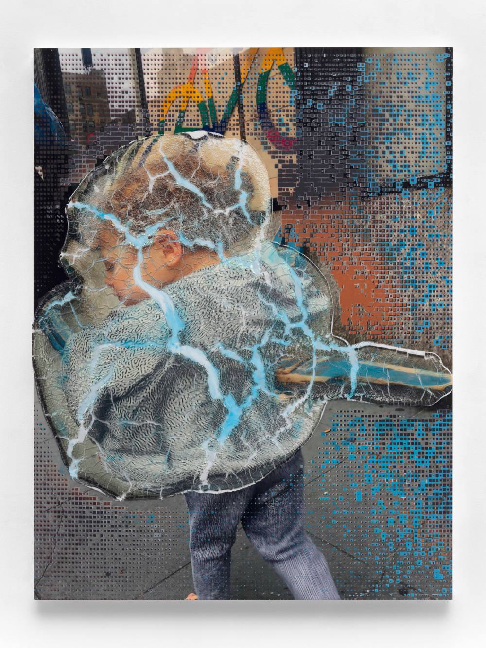 Seth Price, Social Space: Rainbow Signal, Cracked Police Barrier, Boy with Virus Pattern, 2019. Acrylic polymer, acrylic paint, inkjet on plastic, UV-cured inkjet, wood, metal, 140 x 107 cm. Courtesy of the artist and Galerie Chantal Crousel, Paris. Photo : Martin Argyroglo