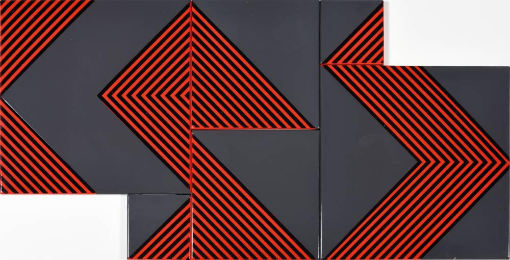 Kálmán Szijártó, Untitled (Grey-Red), 1970. Enamel on iron plate 60 x 120 cm, 23 1/2 x 47 1/4 inches