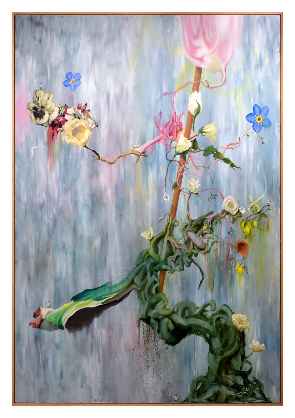 Keith Tyson, Ikebana - Waterfall Stage (Boss Level), 2018. Oil on aluminium 247.7 x 171.5 cm / 97 1/2 x 67 1/2 in (framed) © Keith Tyson. Courtesy of the artist and Hauser & Wirth
