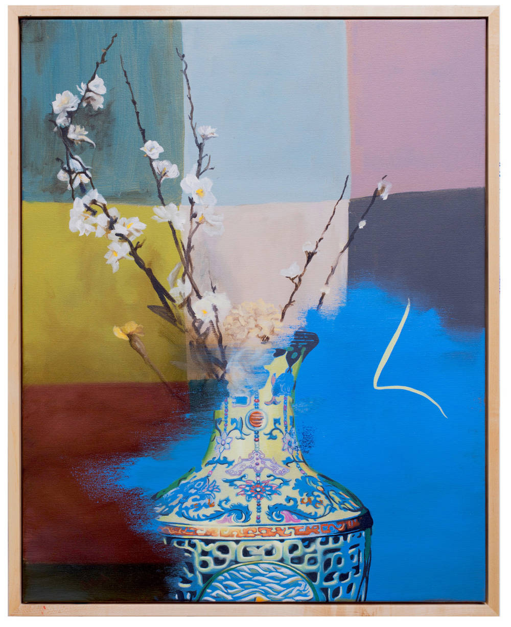 Keith Tyson, Still Life with Qianlong Vase, 2018. Oil on canvas 78.5 x 63 cm / 30 7/8 x 24 3/4 in (framed) © Keith Tyson. Courtesy of the artist and Hauser & Wirth
