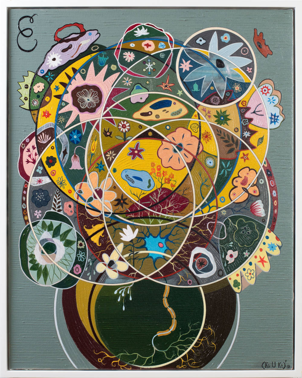 Keith Tyson, Seed of Consciousness, 2019. Oil on canvas 78.6 x 63.1 cm / 31 x 24 7/8 in (framed) © Keith Tyson. Courtesy of the artist and Hauser & Wirth