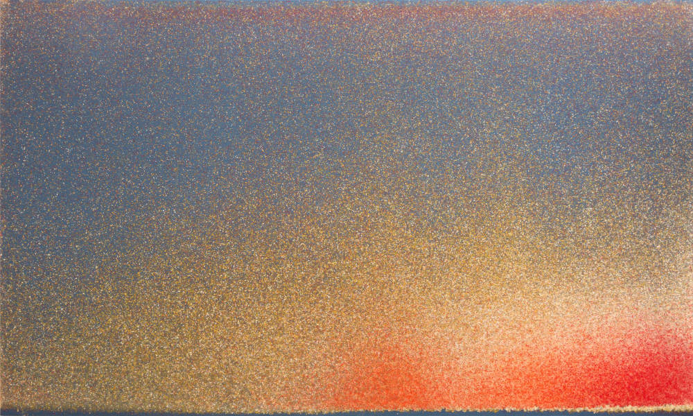John Knuth (b. 1978), West Side, 2017. Acrylic/Flyspeck on canvas 36 x 60 inches