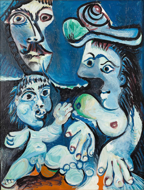 Pablo Picasso, La Famille, 1970. Oil on canvas 116 x 89 cm / 45 5/8 x 35 in. Private collection © Succession Picasso / 2019, ProLitteris, Zurich. Photo: Zarko Vijatovic