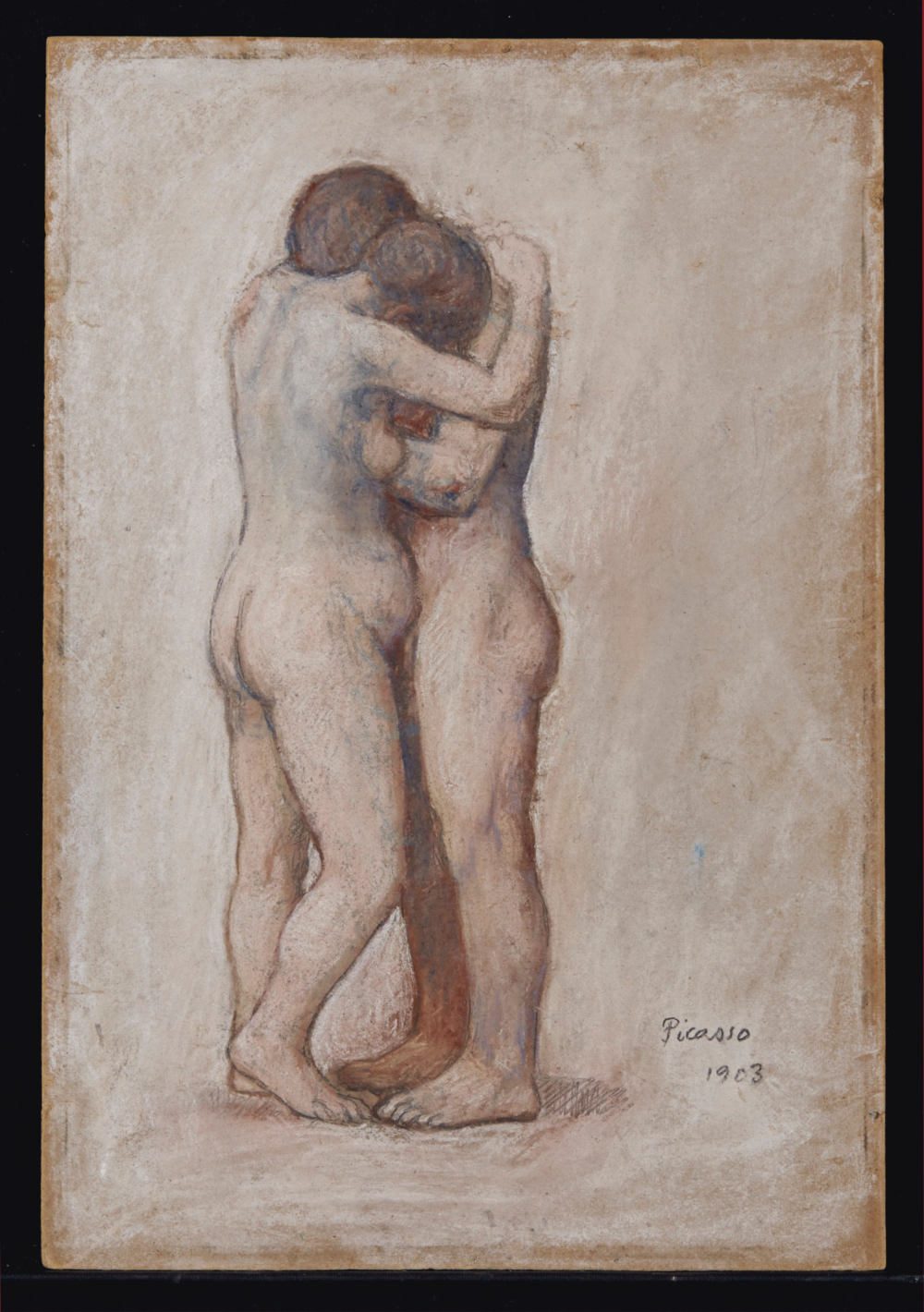 Pablo Picasso, L'étreinte, 1903. Pastel and black chalk on masonite 37.2 x 25.5 cm / 14 5/8 x 10 in. Courtesy of Christie's © Succession Picasso / 2019, ProLitteris, Zurich