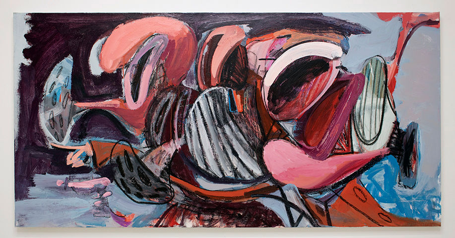 Timothy Bergstrom, Istvaan 3 Massacre, 2019. Acrylic and crayon on canvas 36 x 72 inches (91.4 x 182.9 cm)
