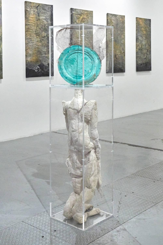 Bianca Bondi, Ectoplasm (Mother), 2019. Silk, ceiba seeds, copper, copper sulfate, salt, coral 150 x 35 x 35 cm (59.06 x 13.78 x 13.78 inches) Courtesy of the artist & VNH Gallery. Photo: Johanna Benaïnous