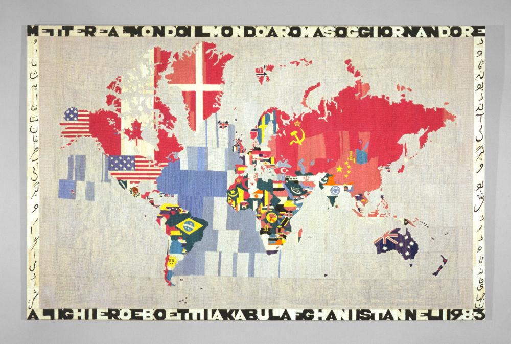 Alighiero Boetti, Map (Mettere il mondo al mondo) [Putting the world into the world], 1983. Embroidery on canvas 45.375 x 71 x 1.125 inches (115.3 x 180.3 x 2.9 cm) © 2019 Artists Rights Society (ARS), New York / SIAE, Rome
