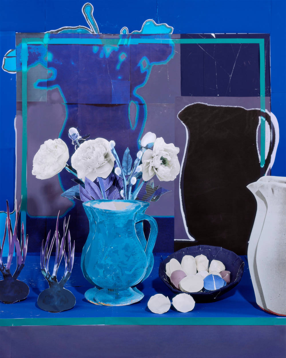 Daniel Gordon, Blue Still Life with White Peonies, Eggs and Onions, 2019. Pigment print 95.25 x 75.57 cm (37 1/2 x 29 3/4 in.) Edition 1 of 3 plus 1 AP. Copyright Daniel Gordon, Courtesy of the artist and James Fuentes, New York