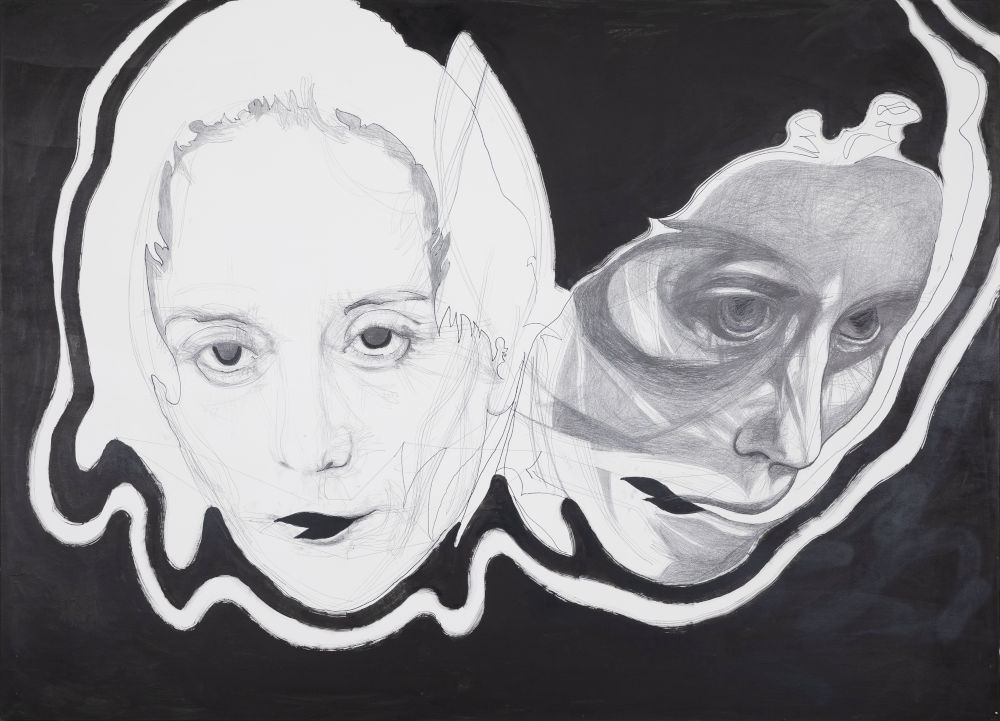 Franz Graf, SNAKE FACE, 2018 - 2019. Graphite and ink on wood 180 x 250 x 8 cm