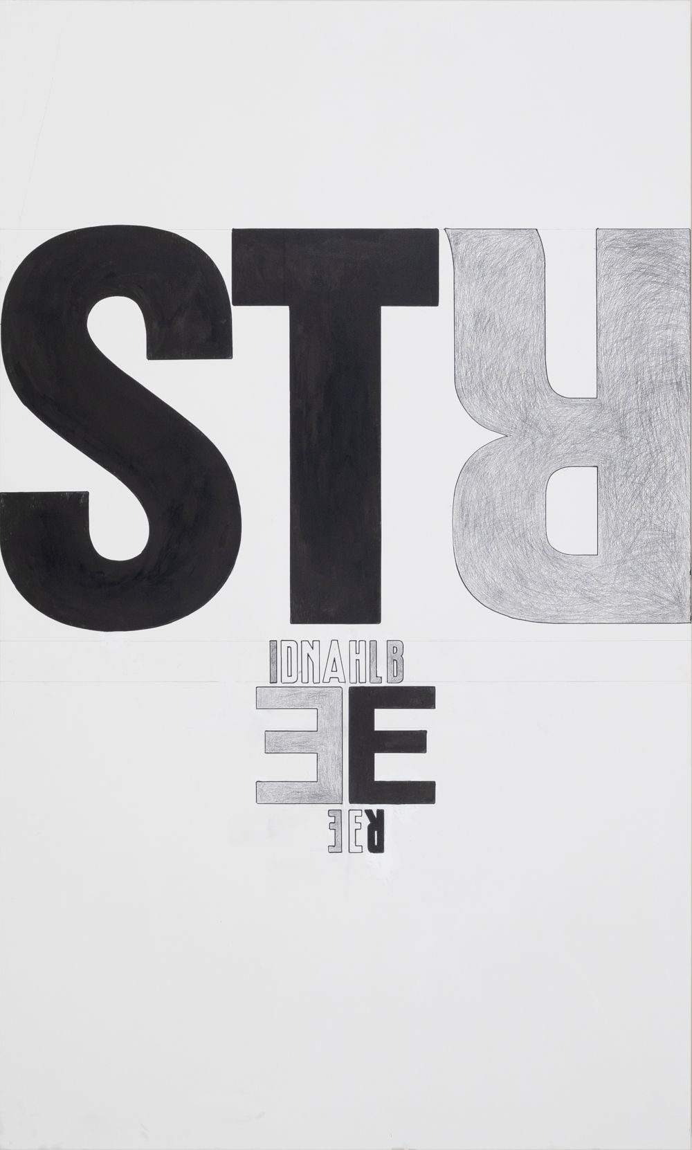 Franz Graf, Strahlen der Liebe, 2018 - 2019. Graphite and ink on wood 200 x 120 x 8 cm