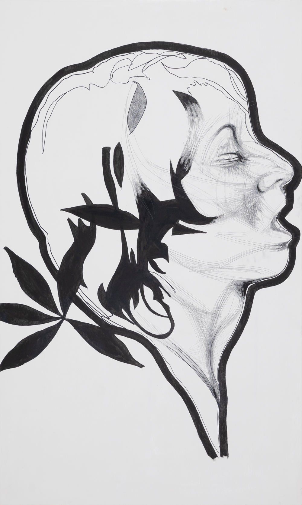 Franz Graf, SHOOT, 2018 - 2019. Graphite and ink on wood 200 x 120 x 8 cm