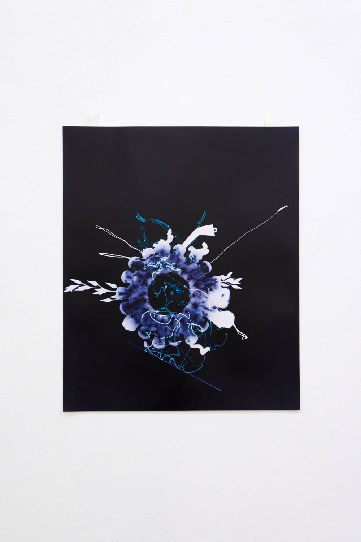 Hannah Buonaguro, blue glass vase photogram, 2019. Unique c-print 60 x 50 cm (23.62 x 19.69 inches) Courtesy of the artist & VNH Gallery. Photo: Johanna Benaïnous