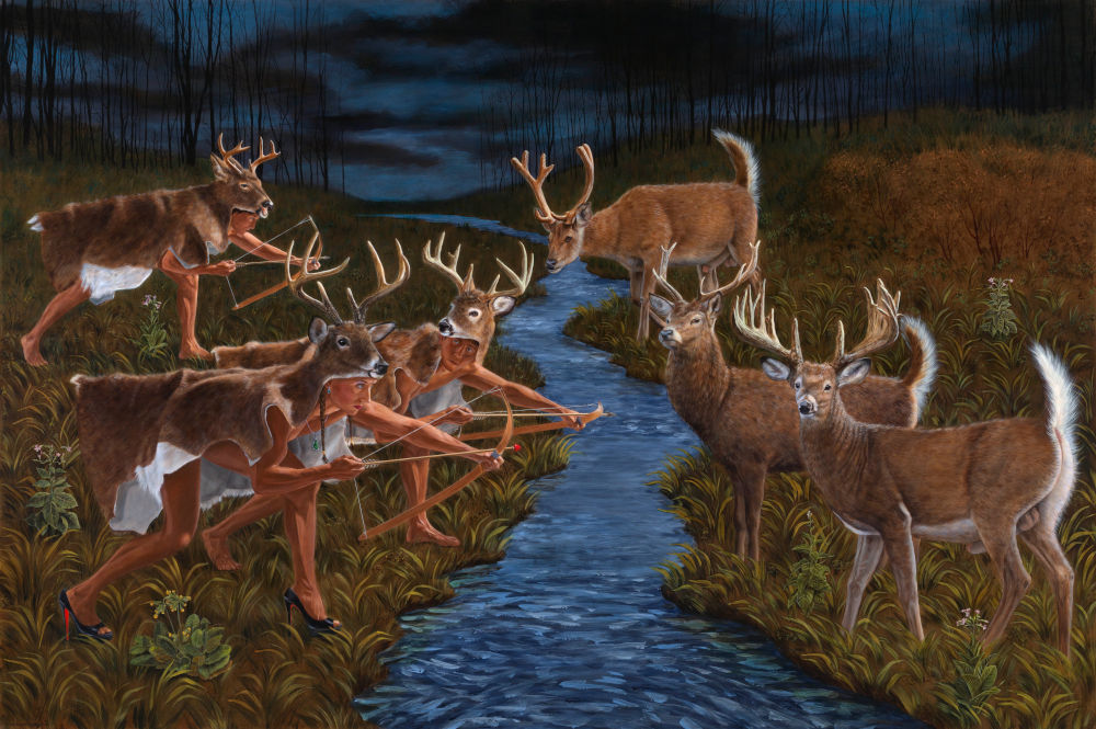Kent Monkman, Stag Hunting (After Theodor de Bry), 2018. Acrylic on canvas 72 x 108 in. Image courtesy of the artist © Kent Monkman