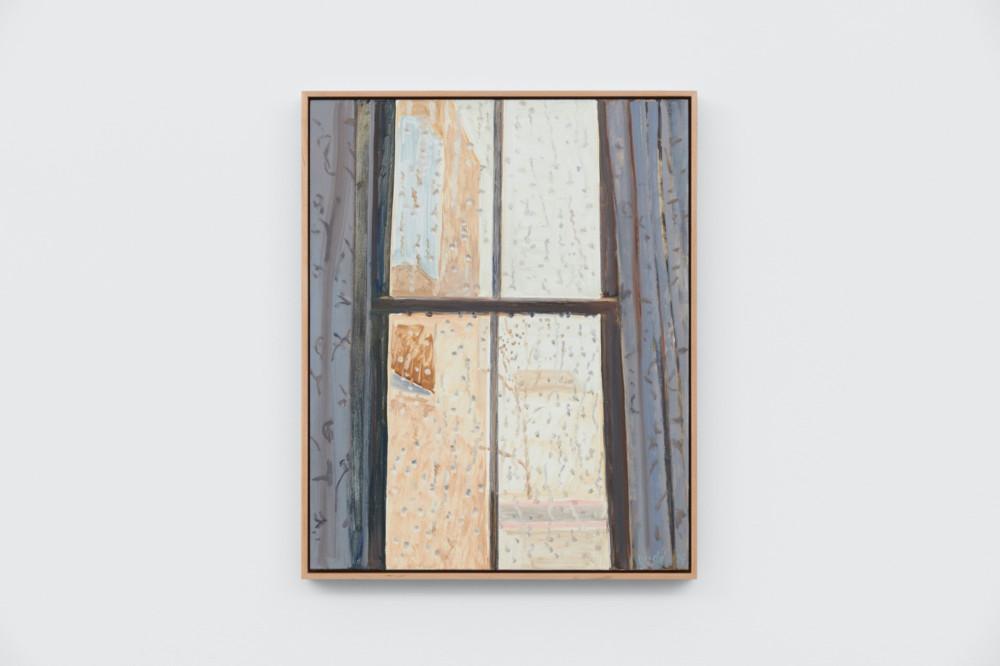 Lois Dodd, Rainy Window, NYC, 2014, oil on Masonite, 50.8 x 40.6 cm, 20 x 16 ins. Photo: Ben Westoby. © the artist. Courtesy Modern Art, London & Alexandre Gallery