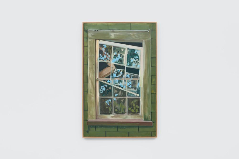 Lois Dodd, Falling Window Sash, 1992, oil on linen, 152.4 x 96.5 cm, 60 x 38 ins. Photo: Ben Westoby. © the artist. Courtesy Modern Art, London & Alexandre Gallery