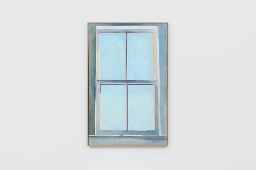 Lois Dodd, Blue Sky Window, 1979, oil on linen, 142.2 x 91.4 cm, 56 x 36 ins. Photo: Ben Westoby. © the artist. Courtesy Modern Art, London & Alexandre Gallery