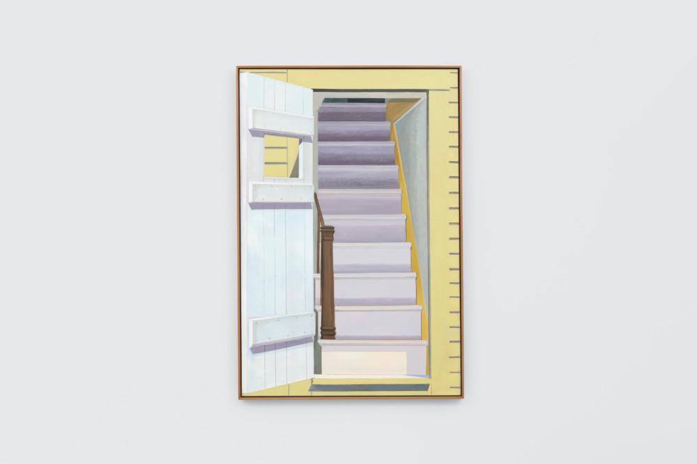 Lois Dodd, Door Staircase, 1981, oil on linen, 152.4 x 101.6 cm, 60 x 40 ins. Photo: Ben Westoby. © the artist. Courtesy Modern Art, London & Alexandre Gallery